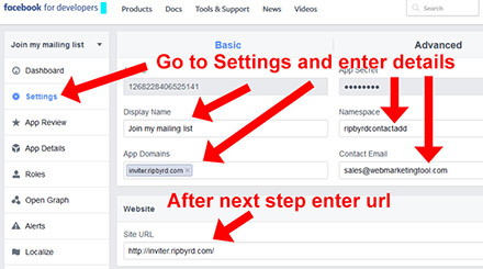 Facebook Setup App Step 5