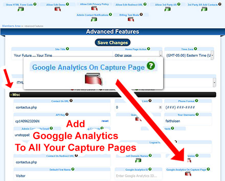Adding Google Anylatics to Capture Pages