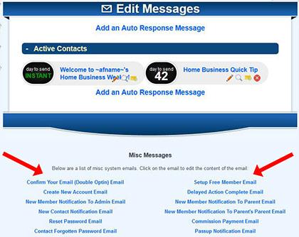 Notification Emails Autoresponder Page