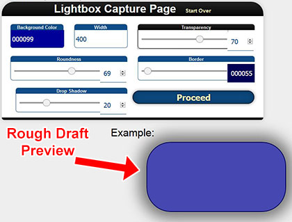 Lightbox Email Capture Page Creator Step 1
